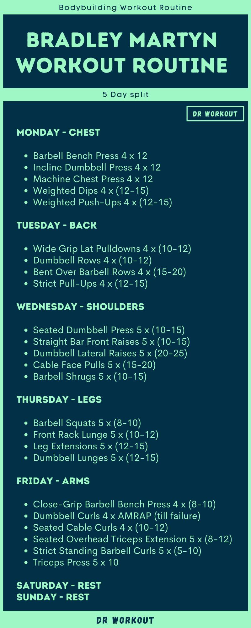 Bradley Martyn S Workout Routine Dr Workout