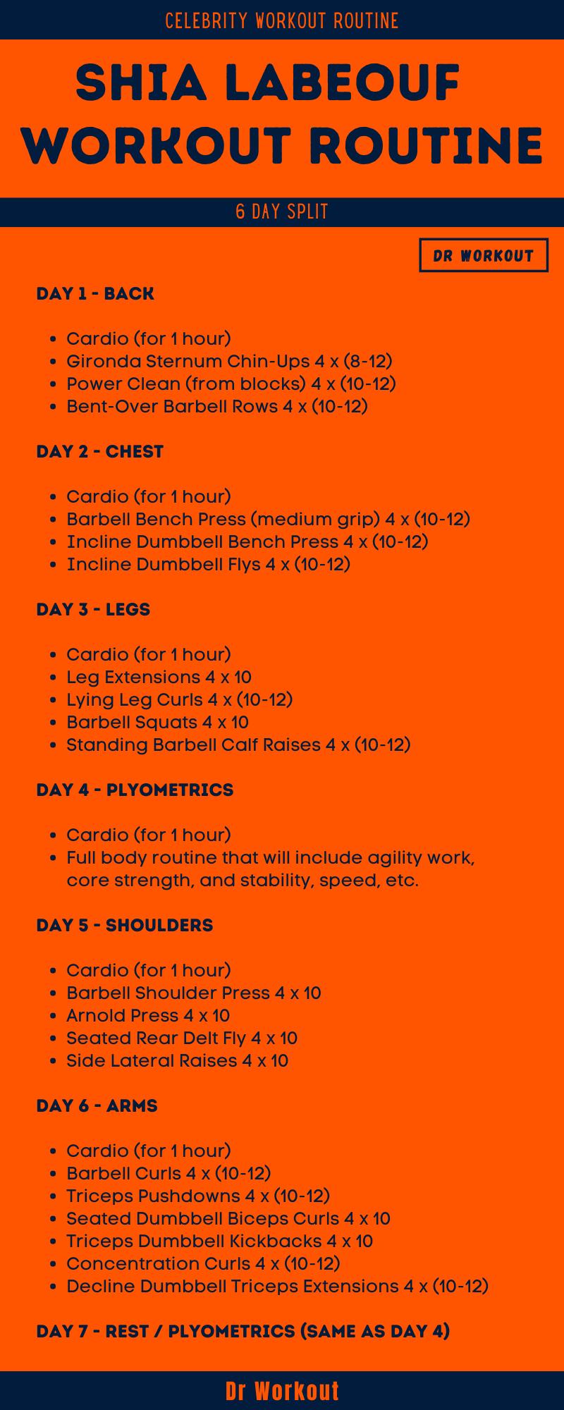 Shia LaBeouf Workout Routine