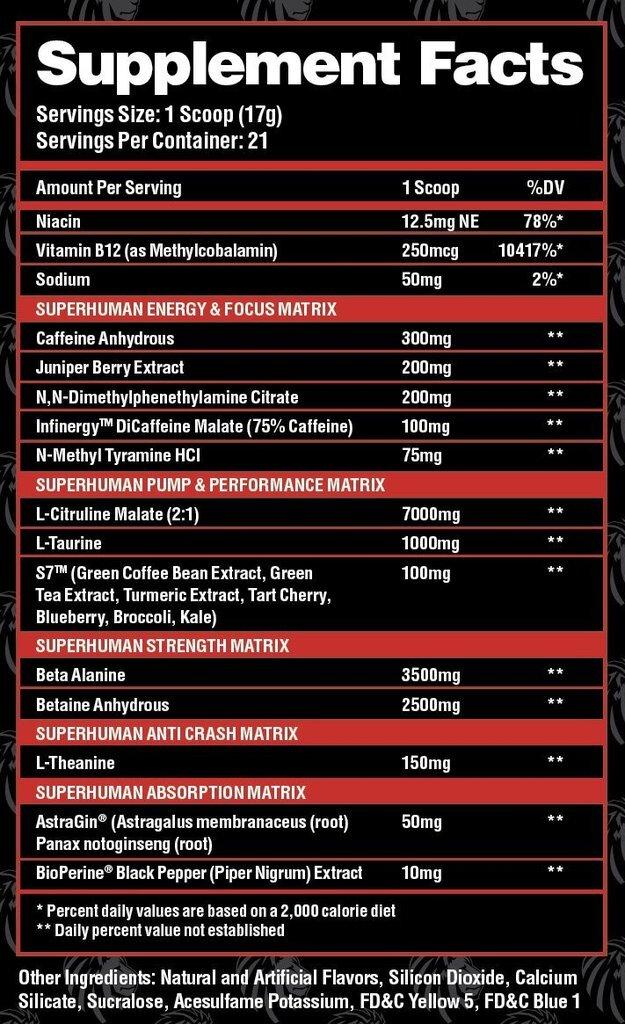 Superhuman Supreme Hardcore Stim Pre Workout Ingredients