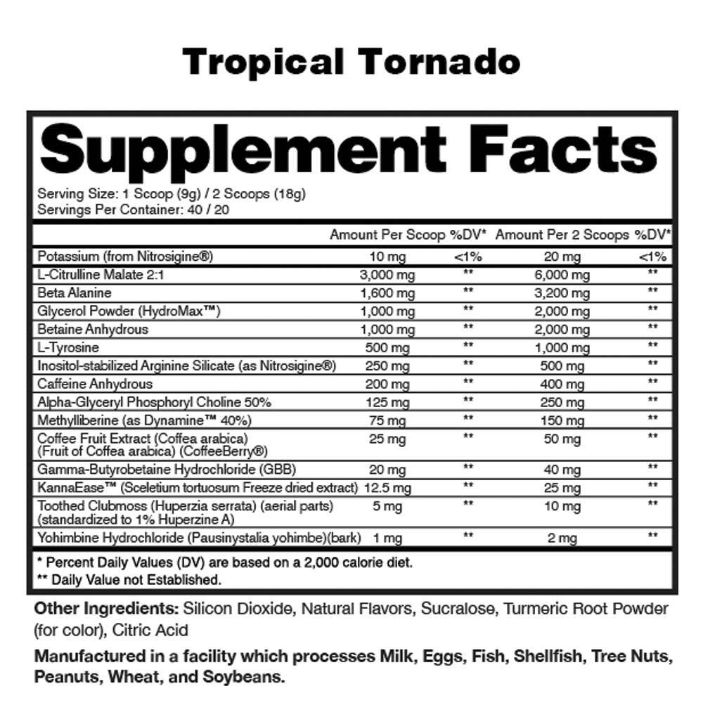 Stim Lord Fully Loaded Ingredients Label